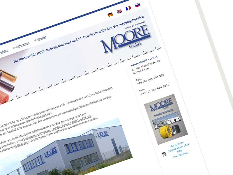 Moore GmbH Webseite